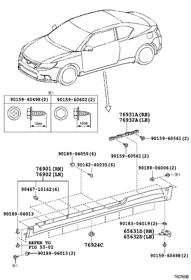Diagram MUDGUARD & SPOILER for your 1984 Toyota Corolla