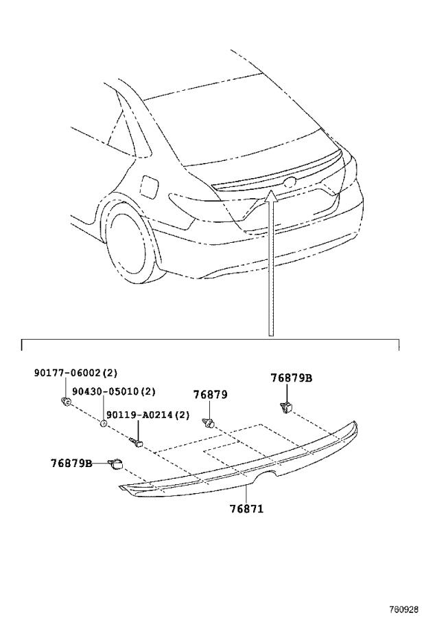 Diagram MUDGUARD & SPOILER for your 2016 Toyota Camry