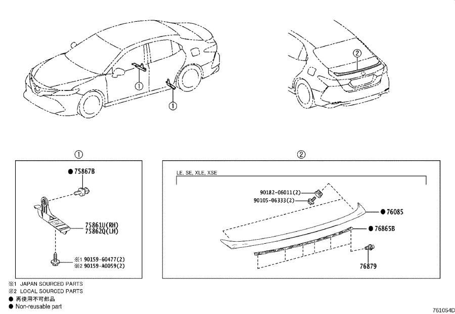 Diagram MUDGUARD & SPOILER for your 2018 Toyota Camry