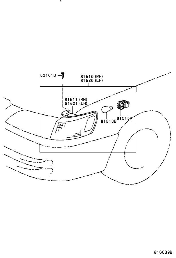 Diagram FRONT TURN SIGNAL LAMP for your 1999 Toyota Camry