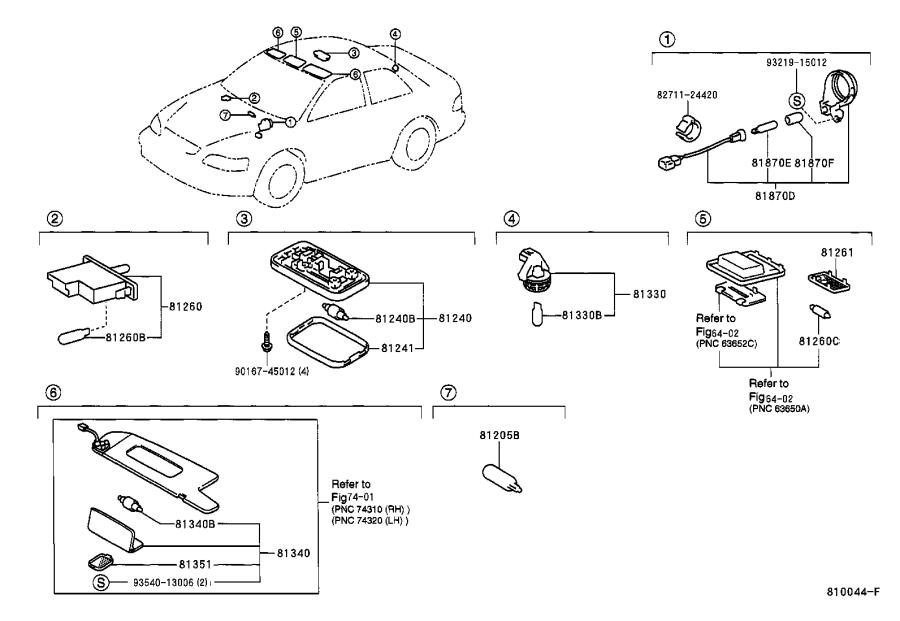 Diagram INTERIOR LAMP for your 2001 Toyota Camry