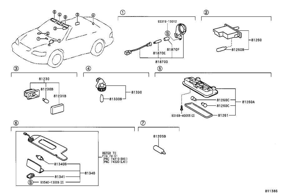 Diagram INTERIOR LAMP for your 2003 Toyota Solara
