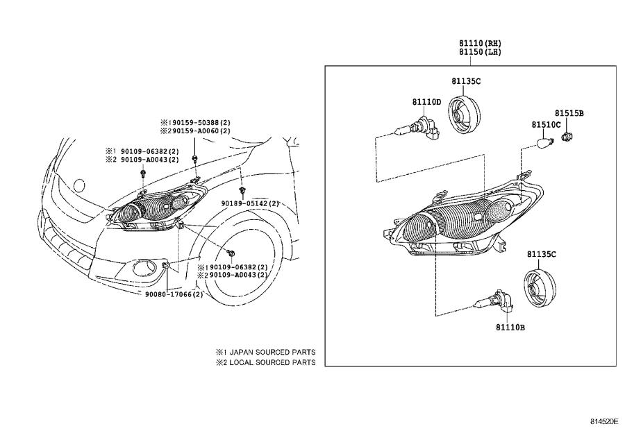 Diagram HEADLAMP for your 2015 Toyota Tundra