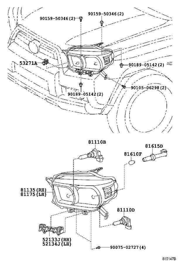 Diagram HEADLAMP for your 1995 Toyota Camry