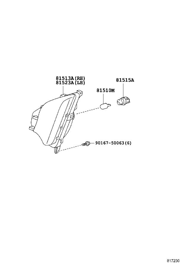 Diagram FRONT TURN SIGNAL LAMP for your 1995 Toyota Camry