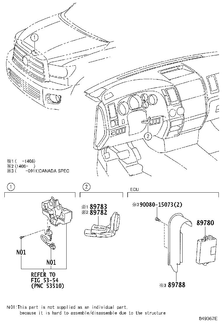 Toyota Sequoia Amplifier  Transponder Key  Theft  System