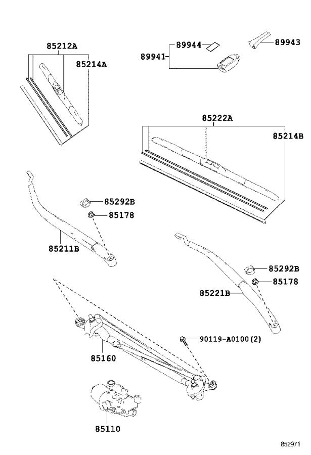 Diagram WINDSHIELD WIPER for your Toyota T100
