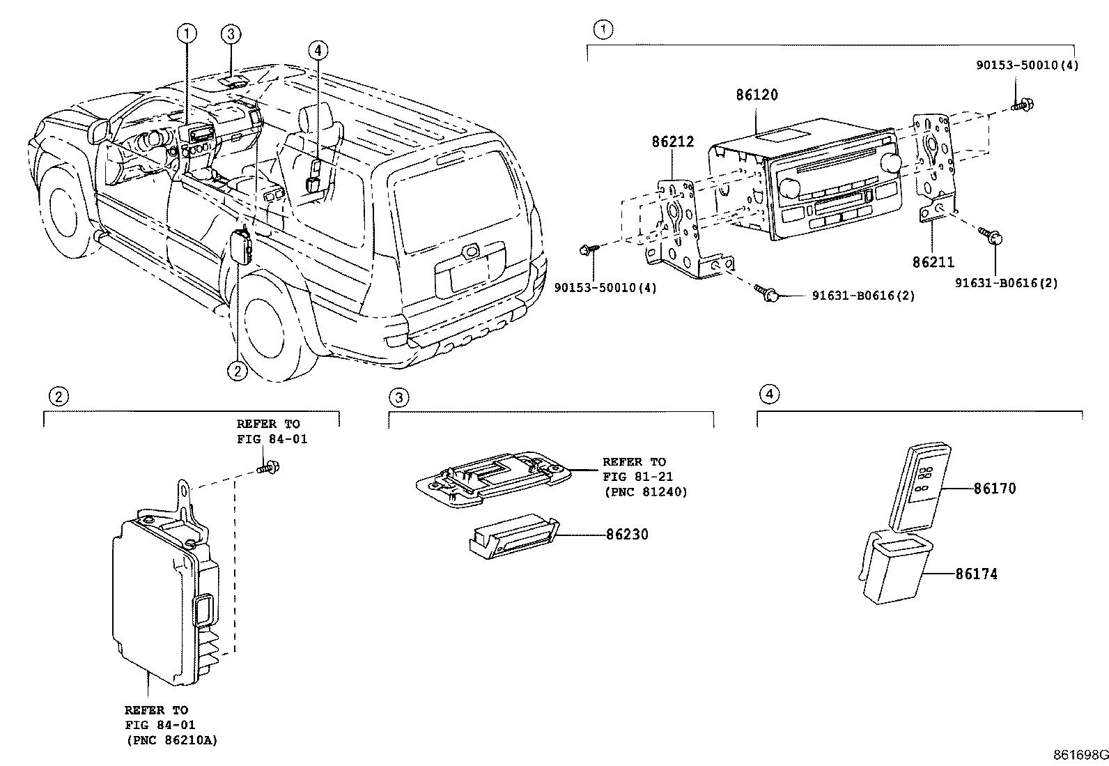 Diagram RADIO RECEIVER & AMPLIFIER & CONDENSER for your 2005 Toyota 4Runner