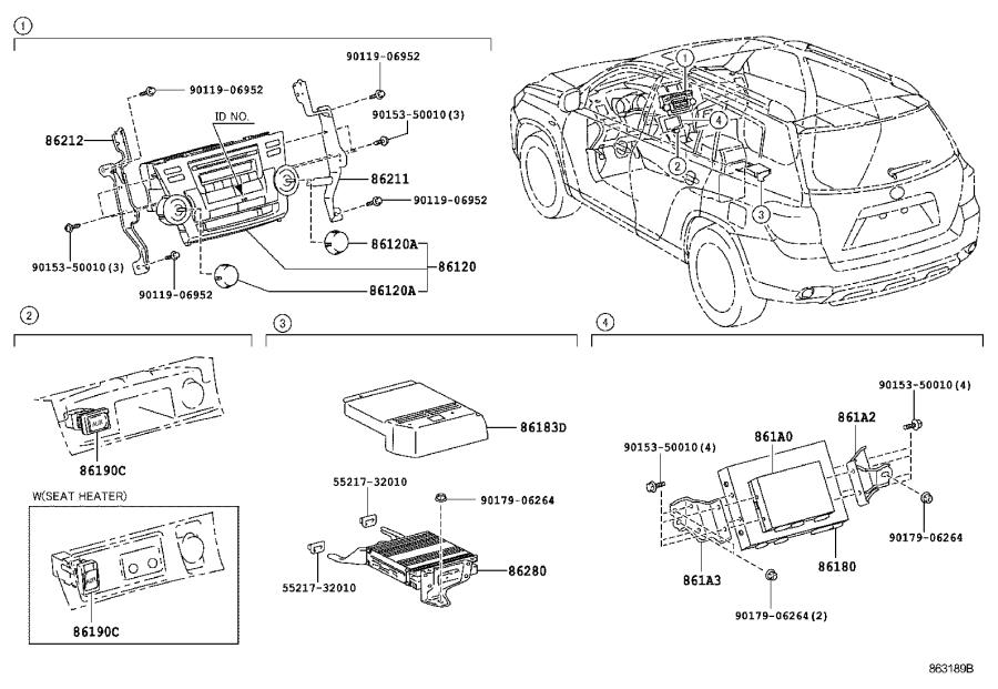 Diagram RADIO RECEIVER & AMPLIFIER & CONDENSER for your 2011 Toyota Highlander GRANDE