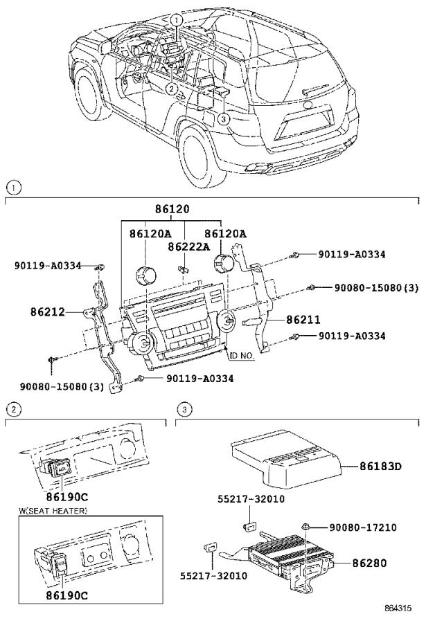 Diagram RADIO RECEIVER & AMPLIFIER & CONDENSER for your 2011 Toyota Highlander BASE (VIN starts with 5) 2.7L 2WD