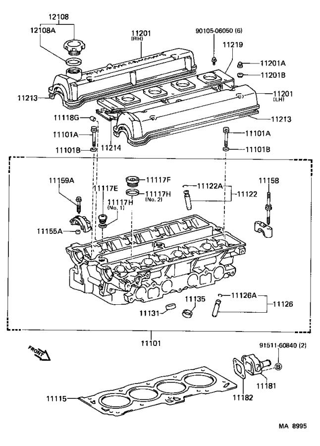 1987 Toyota Corolla Bolt For Cylinder Head Set   Engine