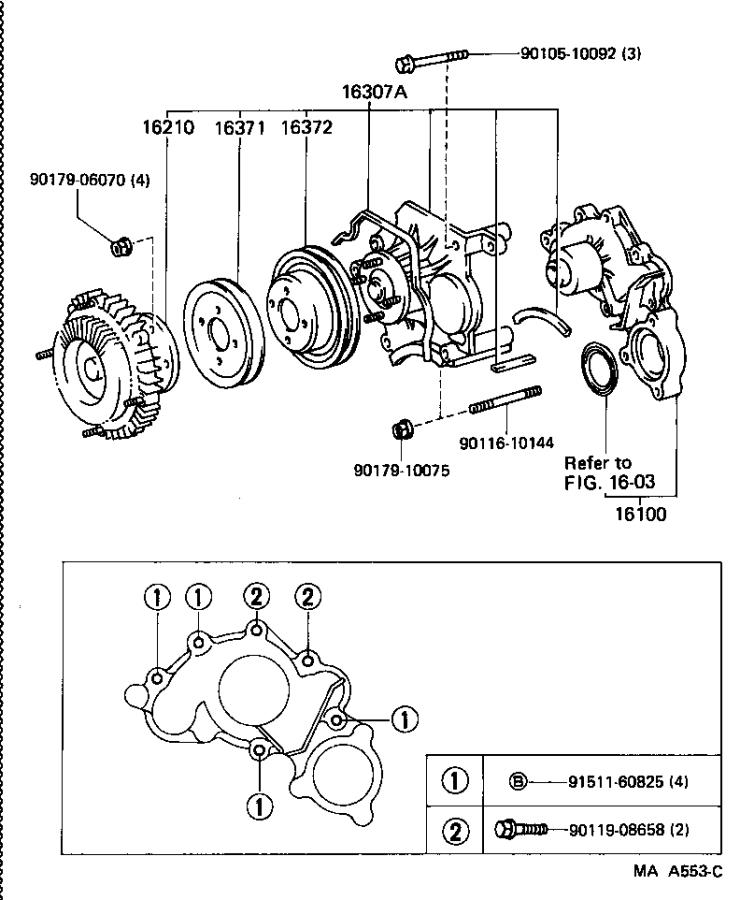 Diagram WATER PUMP for your 1989 Toyota 4Runner