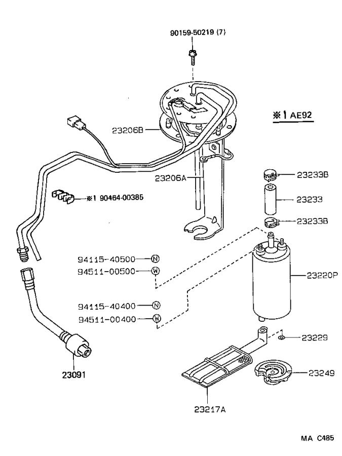 1992 Toyota Corolla Electric Fuel Pump  System  Injection