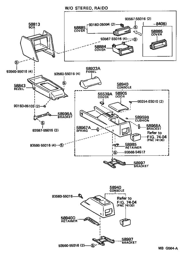 Diagram CONSOLE BOX & BRACKET for your 1986 Toyota Corolla
