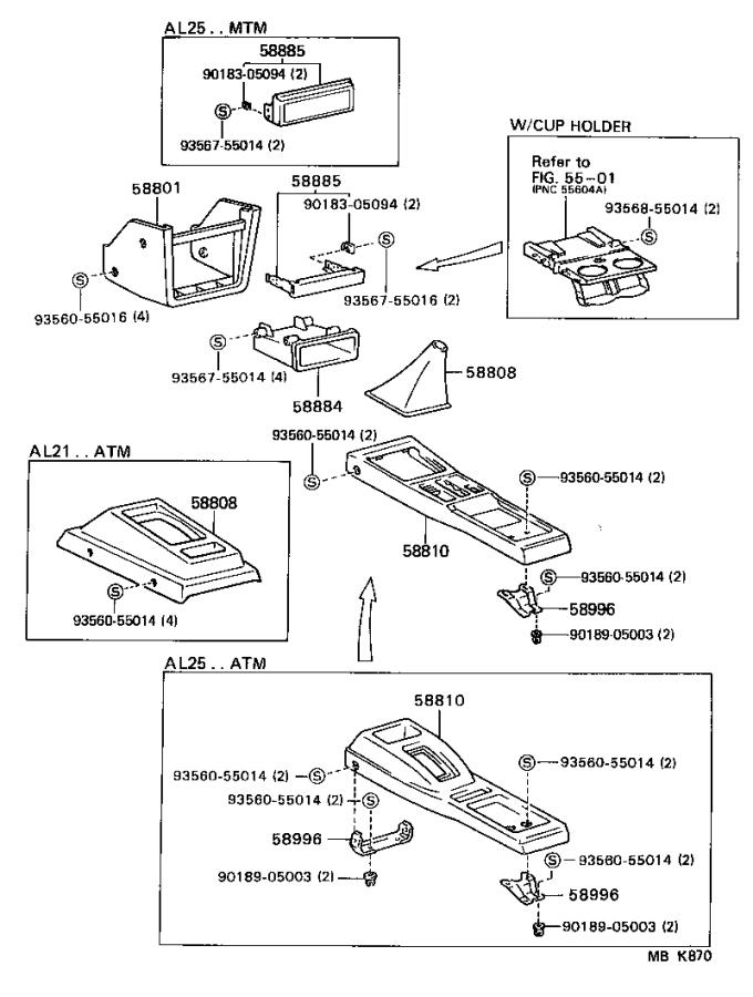 Diagram CONSOLE BOX & BRACKET for your Toyota