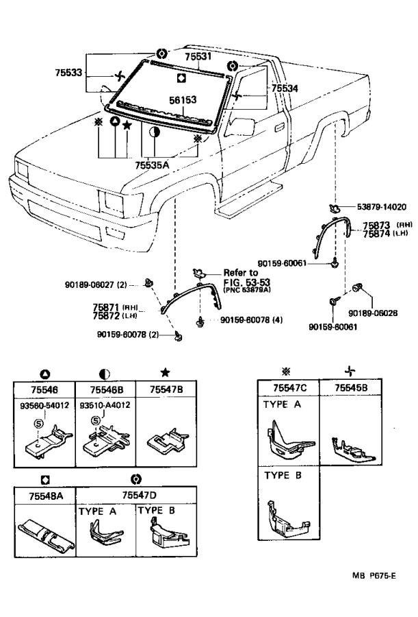 Diagram MOULDING for your 1991 Toyota 4Runner