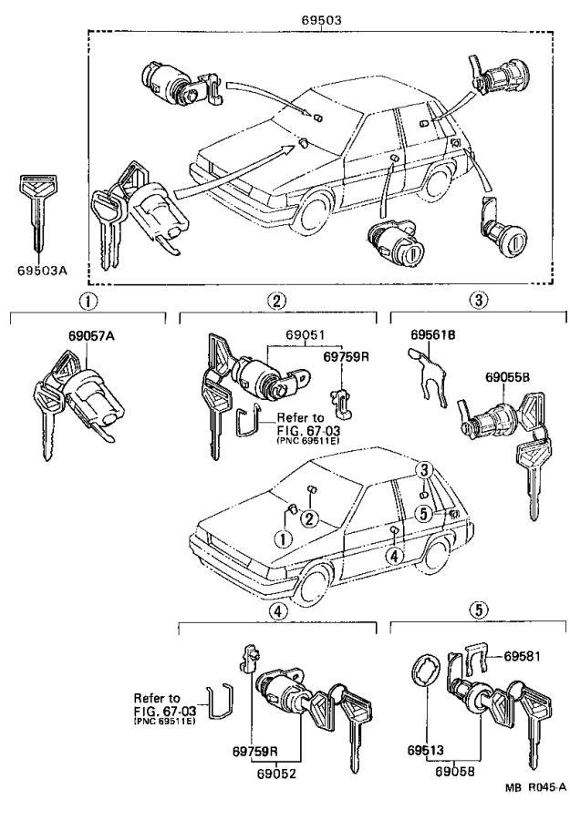 Diagram LOCK CYLINDER SET for your 1995 Toyota Camry