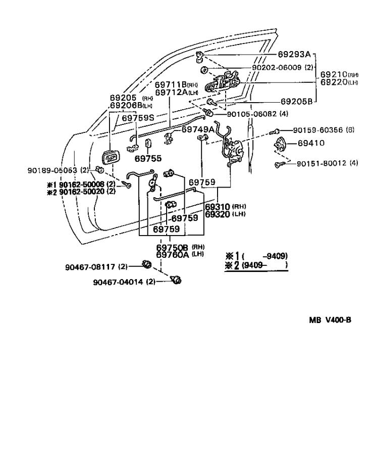 Diagram FRONT DOOR LOCK & HANDLE for your 1995 Toyota Camry