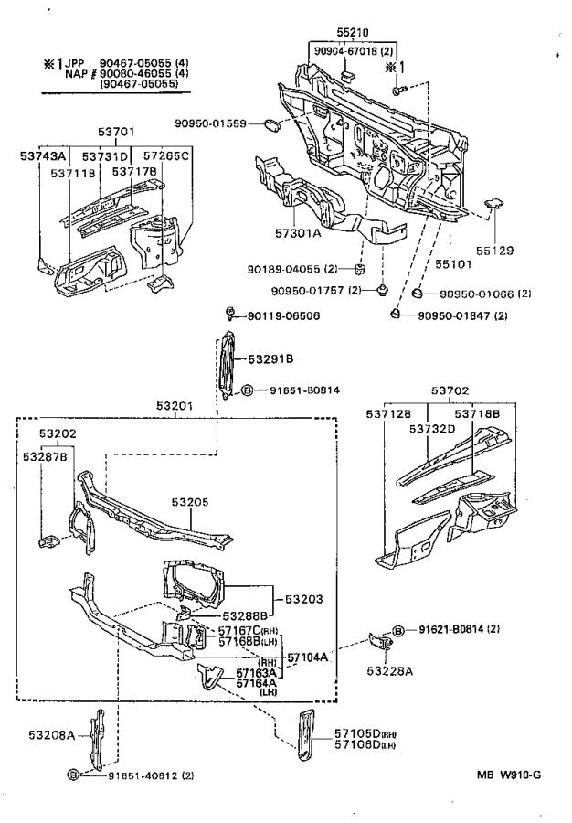 Diagram FRONT FENDER APRON & DASH PANEL for your 2002 Toyota Camry