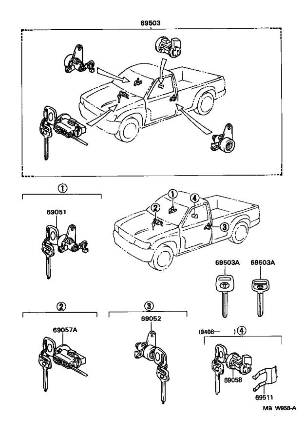 Diagram LOCK CYLINDER SET for your 1991 Toyota Camry