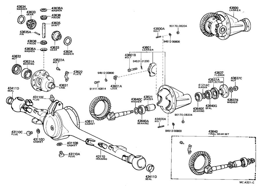 Diagram FRONT AXLE HOUSING & DIFFERENTIAL for your 1989 Toyota 4Runner