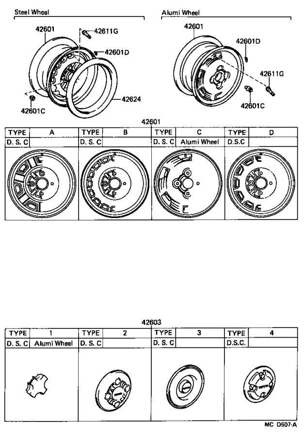 Diagram DISC WHEEL & WHEEL CAP for your Toyota Corolla