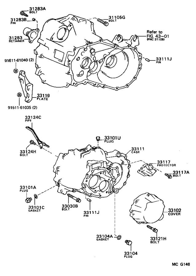 Diagram CLUTCH HOUSING & TRANSMISSION CASE (MTM) for your 1990 Toyota Camry
