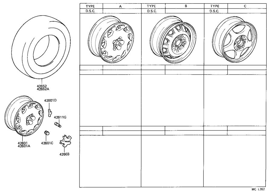 Diagram DISC WHEEL & WHEEL CAP for your Toyota