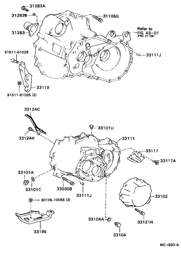 Diagram CLUTCH HOUSING & TRANSMISSION CASE (MTM) for your 1994 Toyota Camry