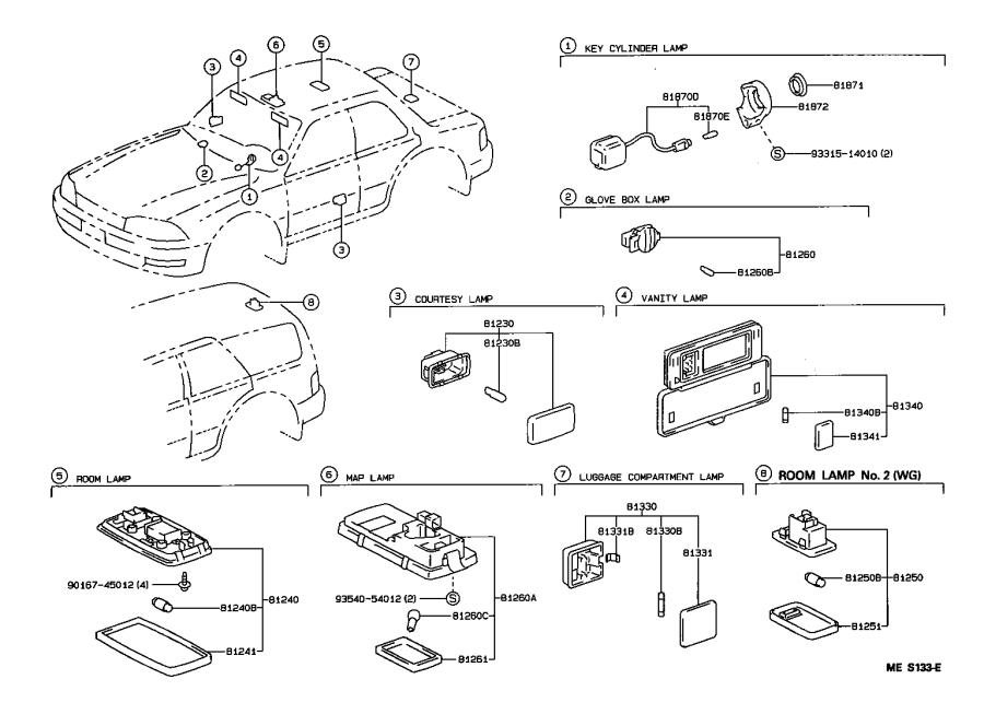 Diagram INTERIOR LAMP for your 1995 Toyota Camry
