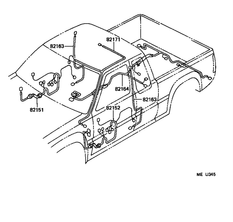 Diagram WIRING & CLAMP for your 1995 Toyota T100  2.7L A/T