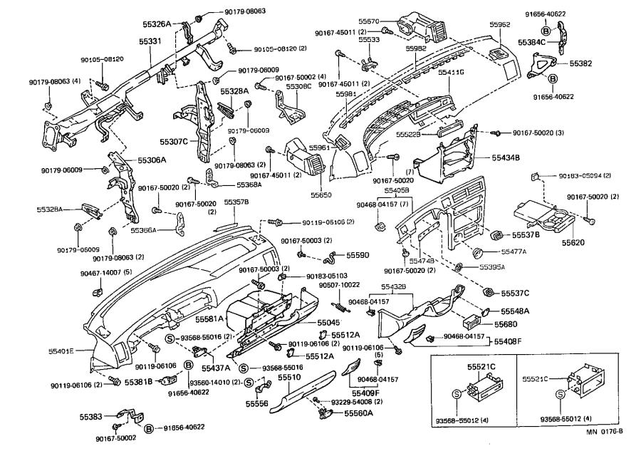 Diagram INSTRUMENT PANEL & GLOVE COMPARTMENT for your 1991 Toyota Corolla