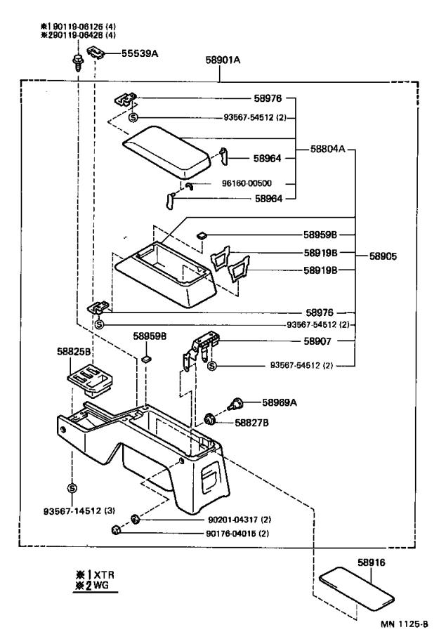 Diagram CONSOLE BOX & BRACKET for your 1992 Toyota 4Runner