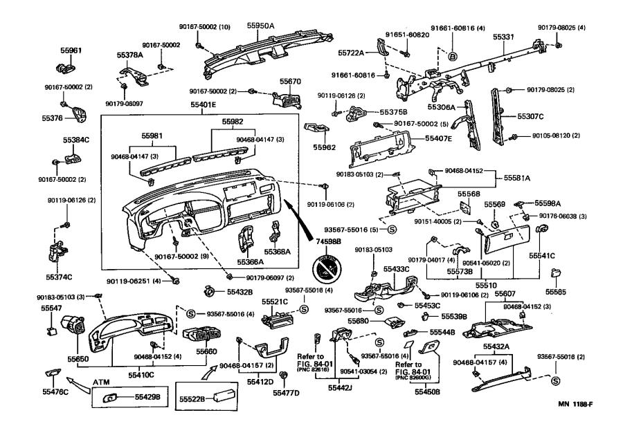 Diagram INSTRUMENT PANEL & GLOVE COMPARTMENT for your 1997 Toyota 4Runner
