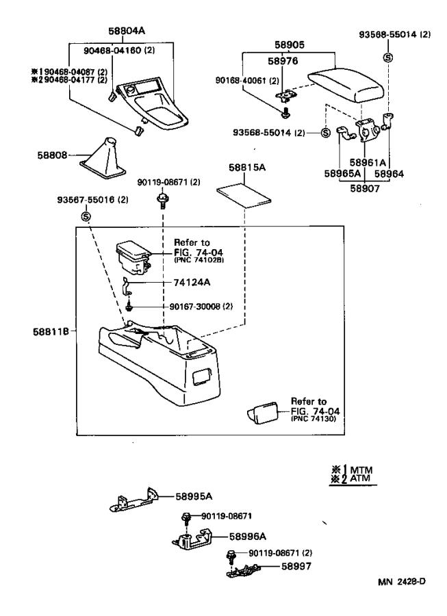 Diagram CONSOLE BOX & BRACKET for your 1998 Toyota Avalon
