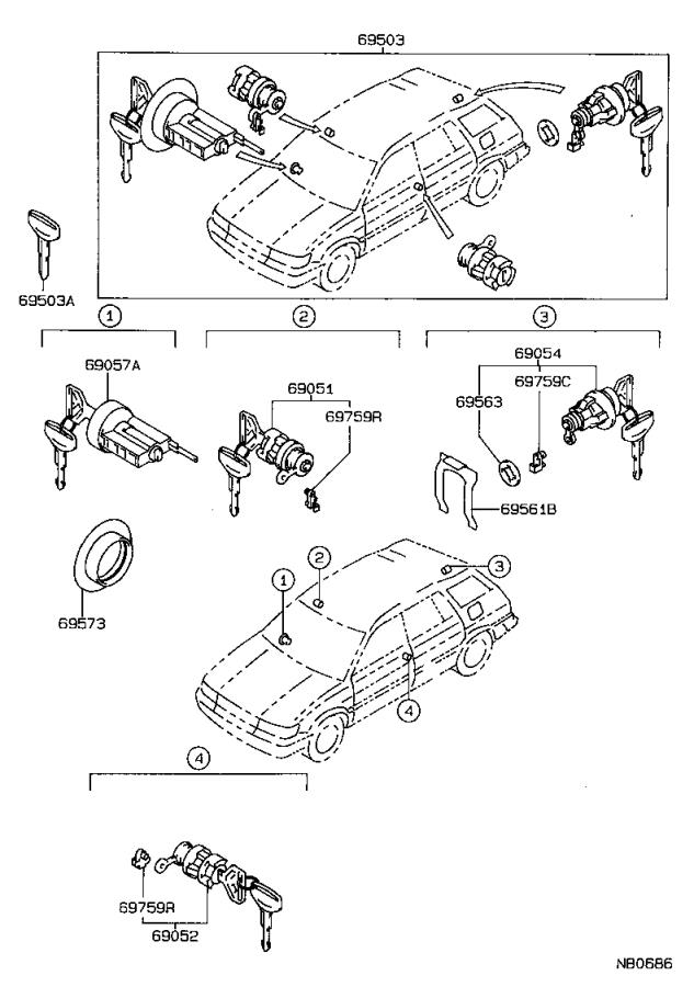 Diagram LOCK CYLINDER SET for your 2010 Toyota Camry
